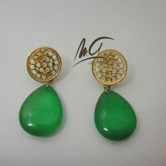 Gold plated sterling silver earrings of an Asturian Pre-Romanesque lattice (Oviedo, 9th century) with a jade teardrop.