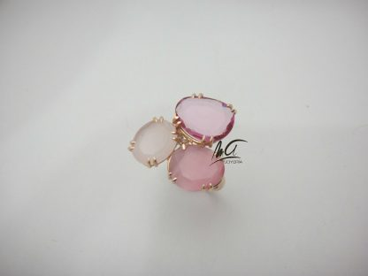 Anillo oro rosa, cuarzo rosa, ojo de gato y jade