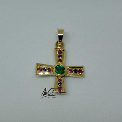 Cruz oro de los Ángeles con piedras